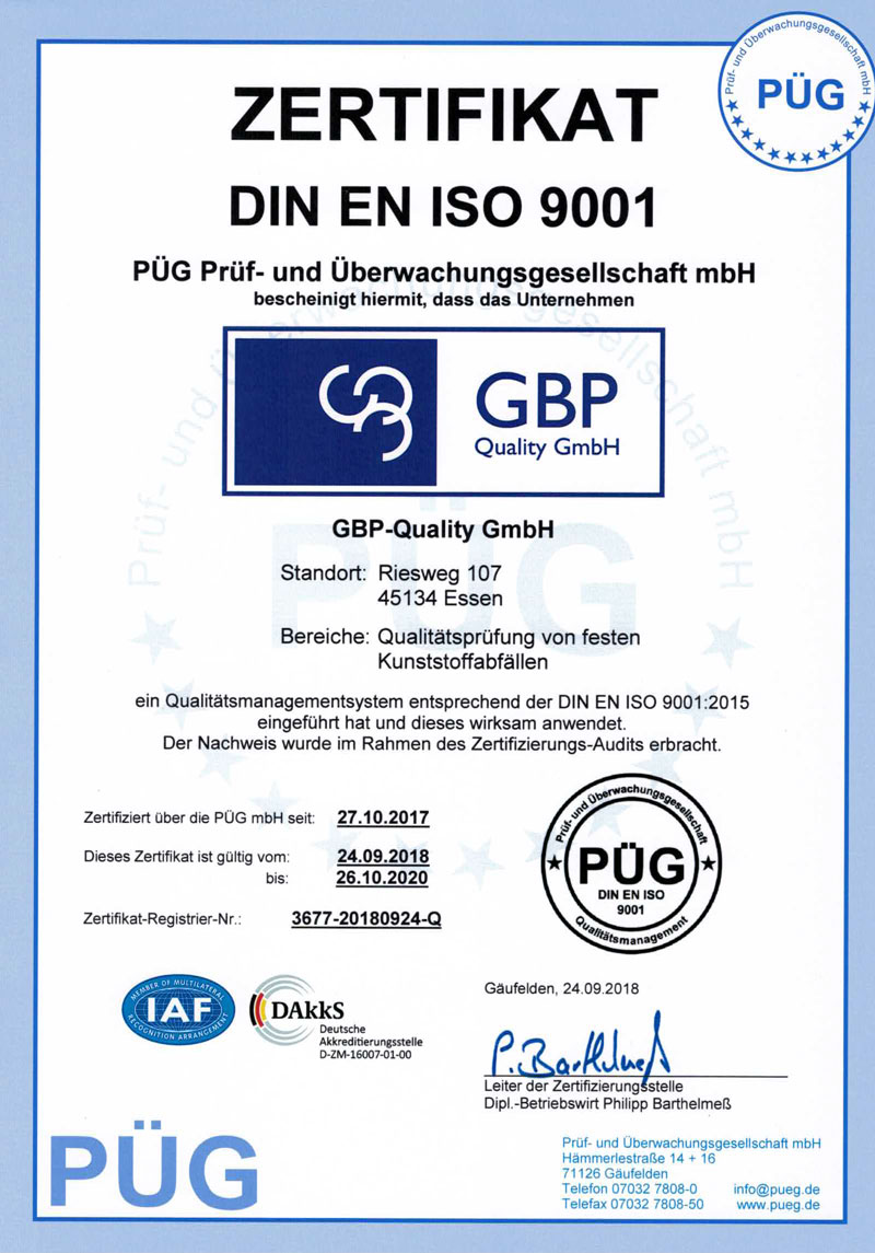 Zertifikat DIN ISO 9001 GBP-Quality-GmbH