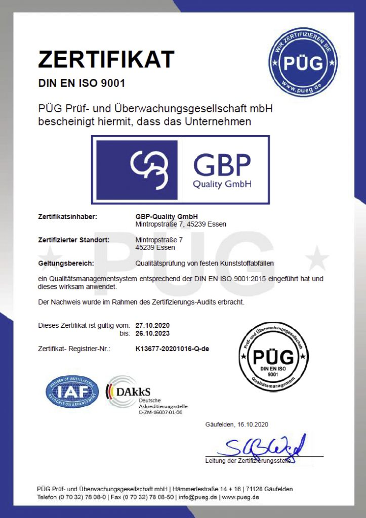 Zertifikat DIN ISO 9001 GBP-Quality-GmbH
